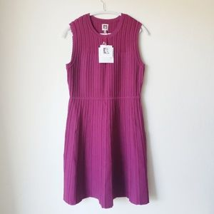 Anne Klein Magenta Knit Sleeveless Dress
